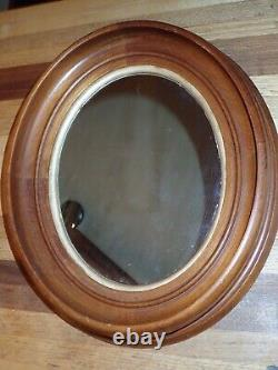 Small Victorian Oak Wall Mirror Oval Shape Deep Recess Frame Gold Accent 11 x 13