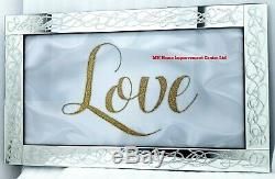 Sparkly Silver Gold Glitter Mirrored Wall Hanging Art LOVE White Grey 100xH60cm