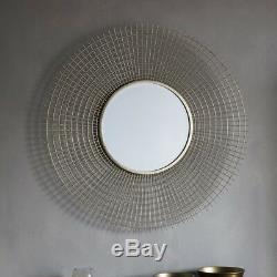 Stafford Stylish Gold Metal Wire Mesh Frame Round Modern Wall Mirror 92cm Diam
