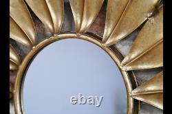 Stunning Unique Sunflower Mirror Golden Metal Novelty Wall Mirror 6492