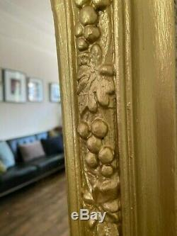 Stunning, large, original, Victorian wall/overmantle mirror gold painted frame