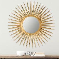 Sunburst Accent Mirror Wall Mounted Metal Iron Gold Finish Frame For Hallway