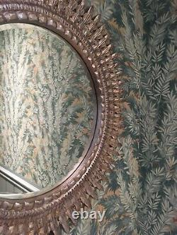 Sunburst Style Wall Hung Mirror, Silver/Gold Finish, Carved Frame, 60cm dia