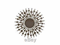 Sunburst Wall Mirror Vintage Circular Frame Distressed Gold Decor Blois