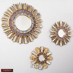 Sunburst Wall Mirrors Set 3 Peruvian Handpainted glass Wood Round Mirror Wall