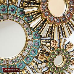 Sunburst Wall Mirrors Set 3 from Peru, Handcarved Wood Round Mirror Decorative