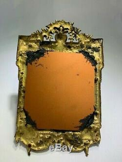 Superb Antique French Rose Gold Gilt Bronze Floral Wall Mirror Or Picture Frame