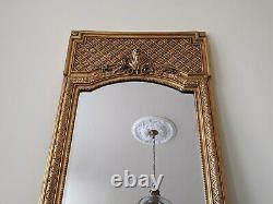 TALL Gold Gilt French Louis Vintage Antique Ornate OVERMANTEL Wall Frame Mirror