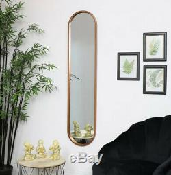 Tall Oval Gold Wall Mirror Slim French Baroque Wall Hanging Metal Full Length