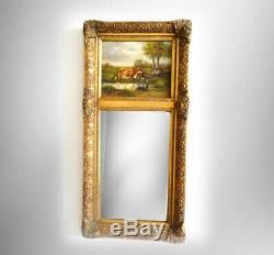 Tall beveled glass wall mirror in gold wood frame cow painting on board