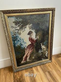 Tapestry Wall Hanging Hand Made Gold Frame and Glass