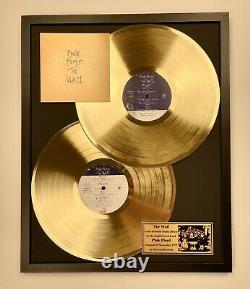 The Wall (1979) Pink Floyd Vinyl Gold Metallized Record In Black Wooden Frame