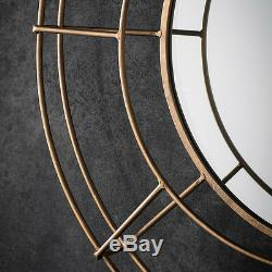 Thorne Large Industrial Gold Metal Frame Round Antique Style Wall Mirror 32