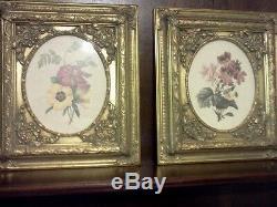Traditional Framed Glass Gold Flower Print 2 Piece Wall Art Decor 14 W 16 H
