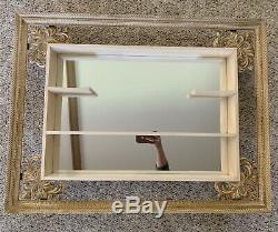 Turner Wall Mirror Shadow Box Frame Shelf Gold Cream Retro 1960s Mid Century