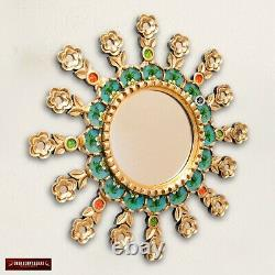 Turquoise Round Sunburst Mirror 19.8 from Peru, Accents golden Mirror for wall