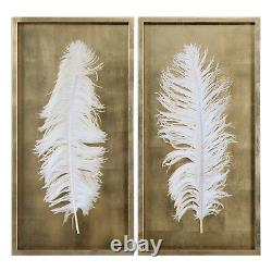 Two Large 34 Gold Leaf Shadow Box Huge Feather Under Glass Modern Wall Art