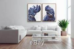 Two Piece Australian Black Cockatoo Canvas Wall Art Prints Artwork