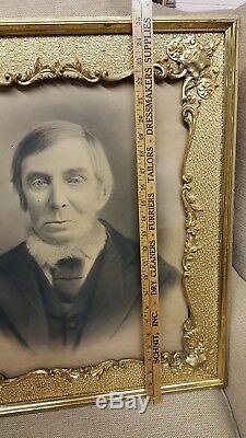 Unique Wall Art OUTRAGEOUS Portrait in Big Gold Gilt Frame 21x25 WOW