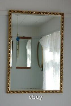 VINTAGE 40s FRENCH ROCOCOHUNG Vz or HZ GILT FRAME XL 32X21 BEVELLED MIRROR