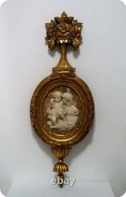 VINTAGE GOLD FLORENTINE FRAMED INCOLAY WALL 3D PLAQUE MADONNA With BABY