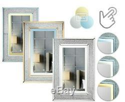 Valentina Wall Mounted Mirror Illuminated 3 Touch LED Colours Crushed Diamond