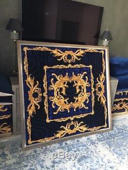Versace Large Velvet Wall Art Blue Gold Baroque Costom Made Frame Msrp$8600