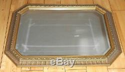Very Large Gilt Wood Framed Wall Mirror Bevelled Edge Glass