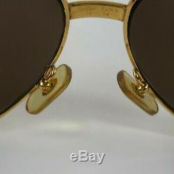 Vintage 80's CARTIER Santos Gold Frame Aviator Designer Wall Street Sunglasses