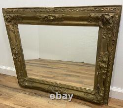 Vintage Antique Large Mirror Ornate Gold Giltwood Frame Hanging Wall Rectangle