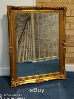 Vintage Antique Look Gold Gild Framed Beveled Beautiful Ornate Big Wall Mirror