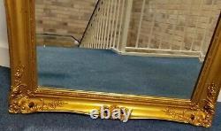 Vintage Antique Look Gold Gild Framed Beveled Beautiful Ornate Big Wall Mirror