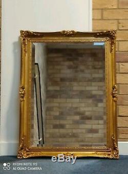 Vintage Antique Look Gold Gild Framed Bevelled Beautiful Ornate Big Wall Mirror