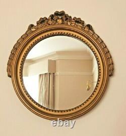 Vintage Antique Louis XVI Style Round Ornate Wall Mirror