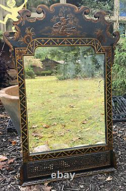 Vintage Asian Style Wall Mirror Chinoiserie Lacquer Wood Wicker Black Gold 32x21