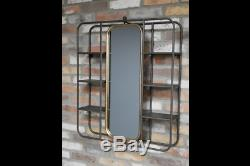 Vintage Bathroom Wall Mounted Shelving with Mirror Gold Framed Metal Mirror 6720