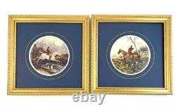 Vintage Classic Print of Fox Hunt Scenery in Golden Wooden Frame Beautiful Wall