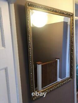 Vintage Extra Large Heavy Rectangular Ornate Gold Wall Mirror 96cm X 125cm