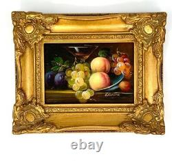 Vintage Fruit Still Life Classic Oil Painting in Golden Frame Beautiful Wall Art
