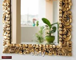 Vintage Gold Tone Hand carved Wood Frame Ornate Mirror for wall decor, 29x21.5