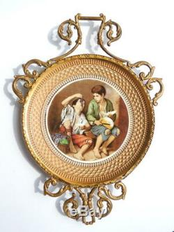 Vintage Italy Hand Made Decorative Brass Frame Wall Pottery Plate Signed Giotto