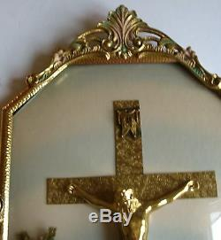 Vintage JESUS Crucifix Easter Cross Wall Convex Hanging Glass Gold Frame 20 X 12