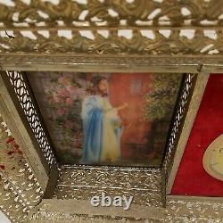 Vintage Lanshire Clock Gold Frame Planter Jesus Picture Wall Decor Christian