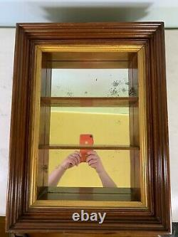 Vintage Mahogany gold deep mirror back curio shelf wall hanging display cabinet