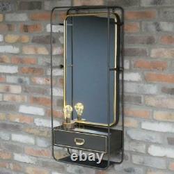 Vintage Metal Framed Wall Mirror Brown with Gold detail Drawer & Shelf 100cm