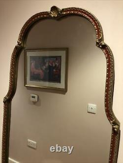 Vintage Mid Century Regency Style Gilt Full Length Wall Mirror Shabby Chic Shell
