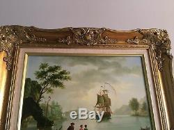Vintage Oil Painting Colonial Ship Gold Frame Artist Signed Jan Reynold Wall Art