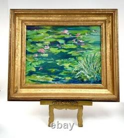 Vintage Original Signed Oil Painting of Lilly Pad In Golden Frame Beautiful Wall