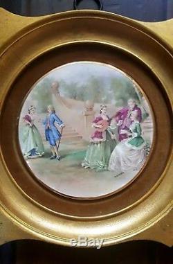 Vintage Ormolu Victorian Fragonard Hand Painted Porcelain Wall Plaque Gold Frame