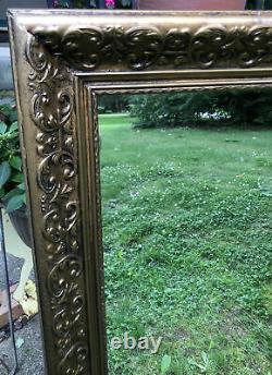 Vintage Ornate Gold Gilt Wood Wall Mirror Gesso Frame Large 41 x 29